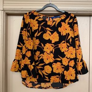 Apt. 9 Mustard Yellow Floral Bell Sleeve Blouse